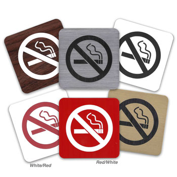 Engraved No Smoking Symbol Signs