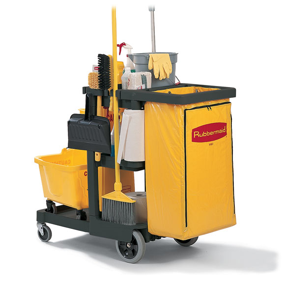 Janitorial Cleaning Carts Rubbermaid Three Shelf