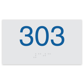 "Classic 2.25""H x 4""W ADA Braille Room Number Sign"