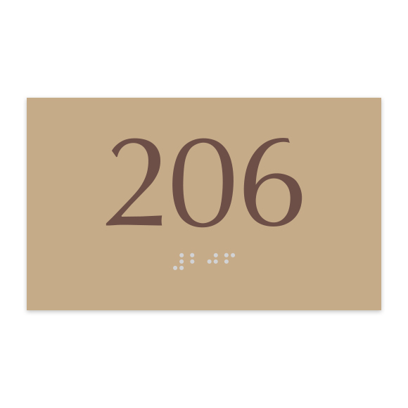 """Classic 3""""H x 5""""W ADA Braille Room Number Sign"""