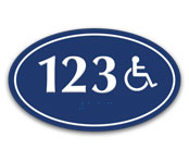 Custom ADA Braille Oval Series Door Number Plates