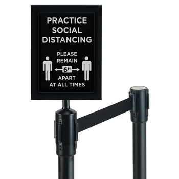 2-Piece Black Stanchion Set w/Social Distancing Sign