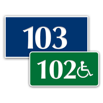 "1.5"" x 3"" Engraved Plastic Door Number Signs"