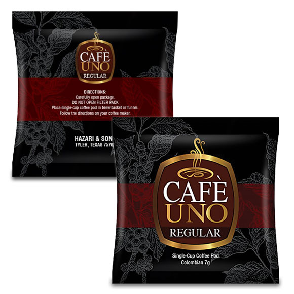Cafe Uno Regular 1-Cup Coffee Pods; 220/cs.