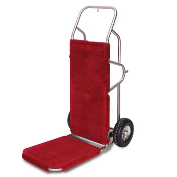 Carpeted Luggage Hand Truck; Brushed Stainless