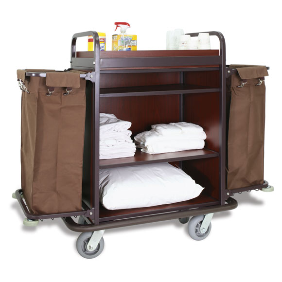 High Capacity Deluxe Metal Housekeeping Cart w/Mahog. Panels
