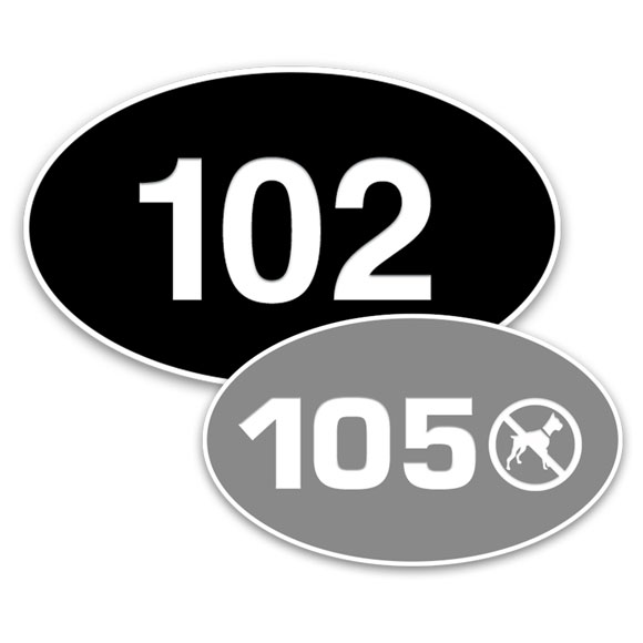 """Engraved Plastic Door Number Signs; 3""""x5"""" Oval"""