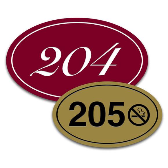 Deluxe Oval Engraved Door Number Signs