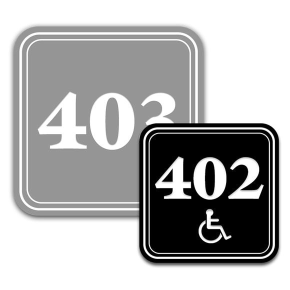 "Deluxe Engraved 4x4"" Door Number Signs"