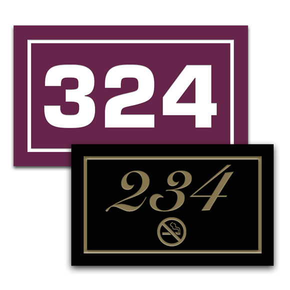 "Deluxe Engraved 5""x3"" Door Number Signs"