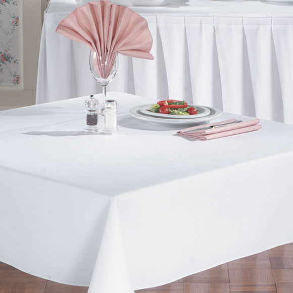 Embassy Spun Filament Polyester Tablecloths; White