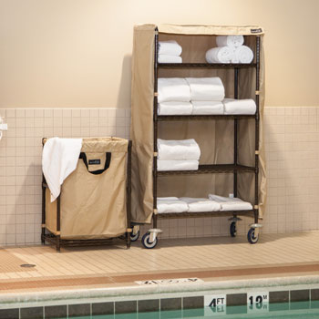 Epoxy Coated Towel Cart w/Casters