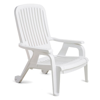 Bahia White Stacking Deck Chair