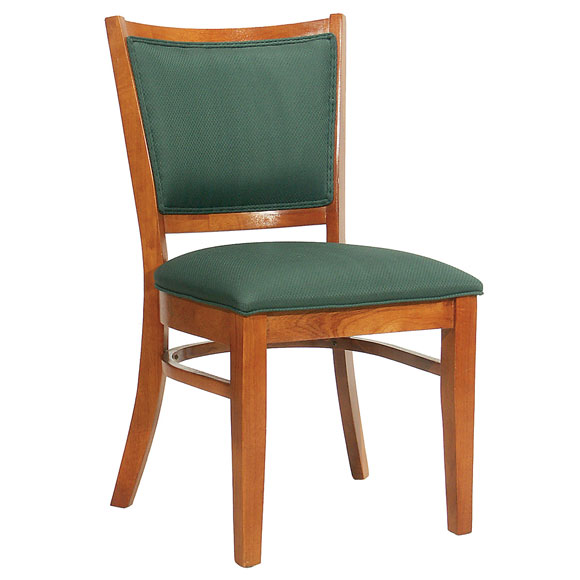 Wood Restaurant Chair; Upholstered Seat & Back