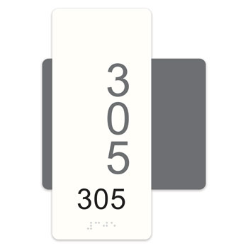 "Highrise 5""W x 7""H ADA Braille Room Number Sign"