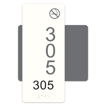 "Highrise 5""W x 7""H ADA Braille Room Number Sign w/ Symbol"