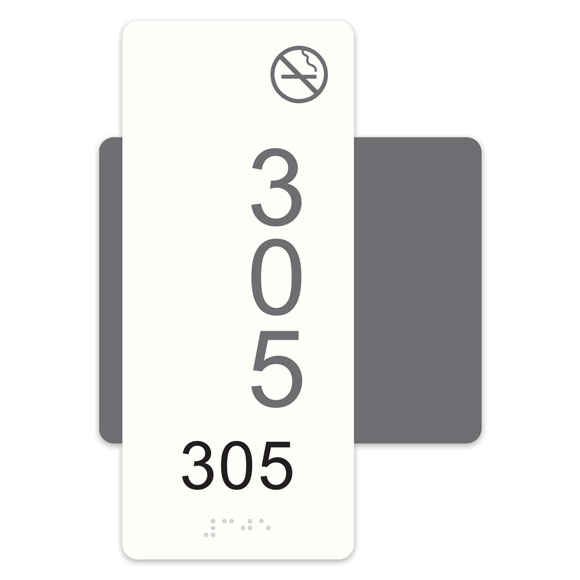 """Highrise 5""""W x 7""""H ADA Braille Room Number Sign w/ Symbol"""