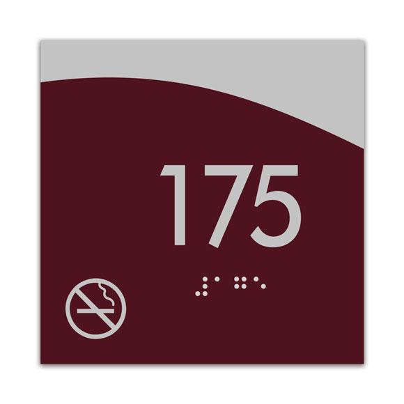 "Horizon 4"" x 4"" ADA Braille Room Number Sign w/ Symbol"