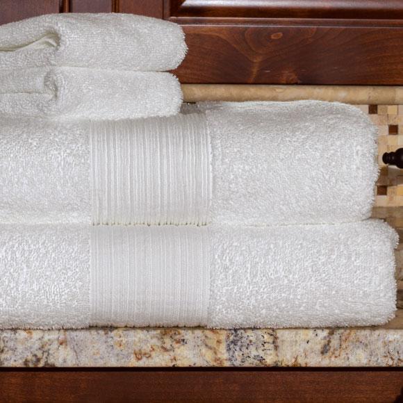 Hudson 100% Cotton White Guestroom Towels