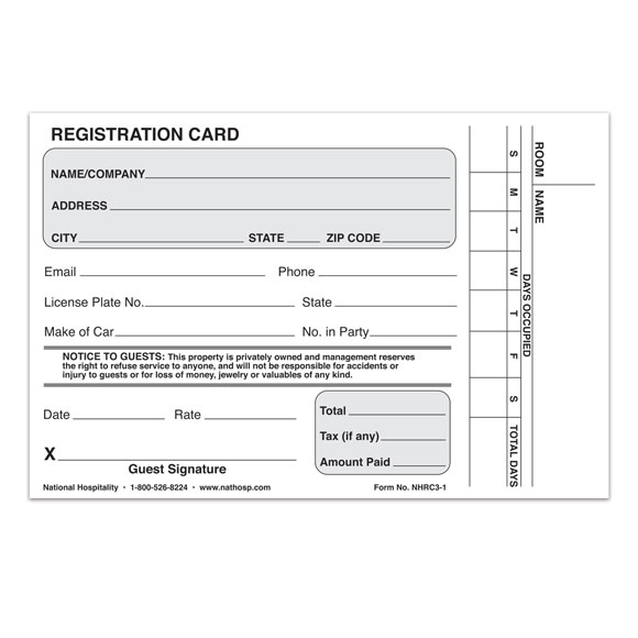 Registration Cards (Plain or Numbered)