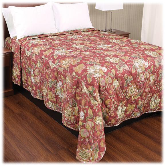 Trevira Quilted Polyester Bedspreads - Floral Garden Burgundy
