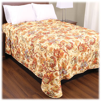 Trevira Quilted Polyester Bedspreads - Floral Garden Tan