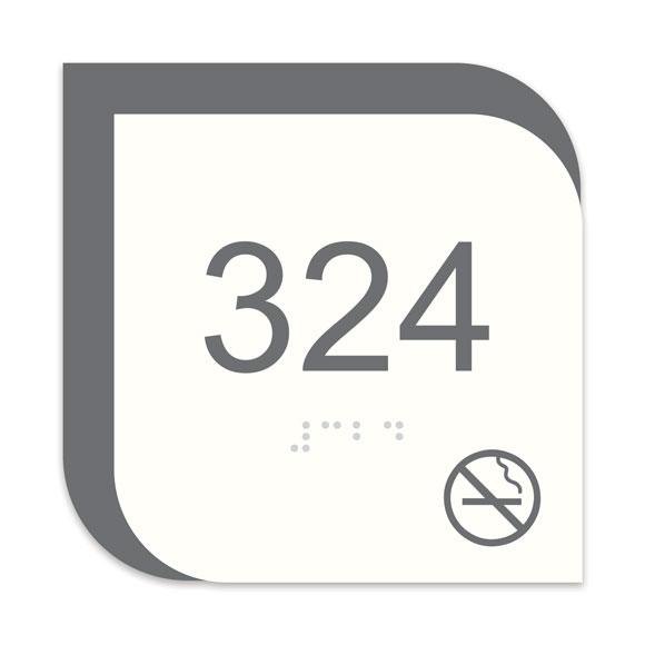 "Nova 4"" x 4"" ADA Braille Room Number Sign w/ Symbol"