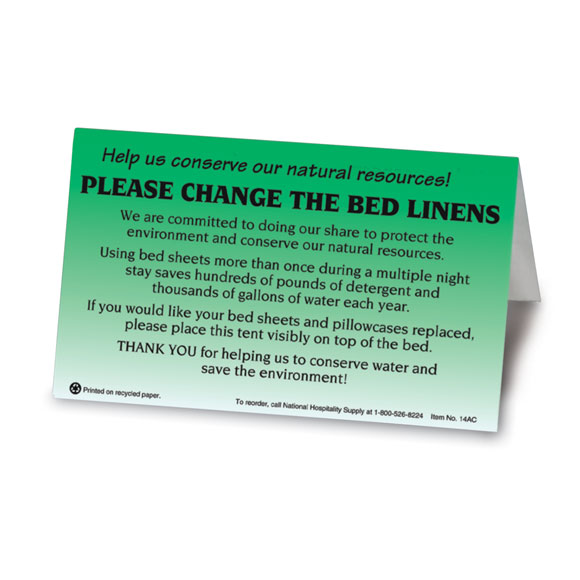 Please Change Linens Bed Tent Sign 100/pk
