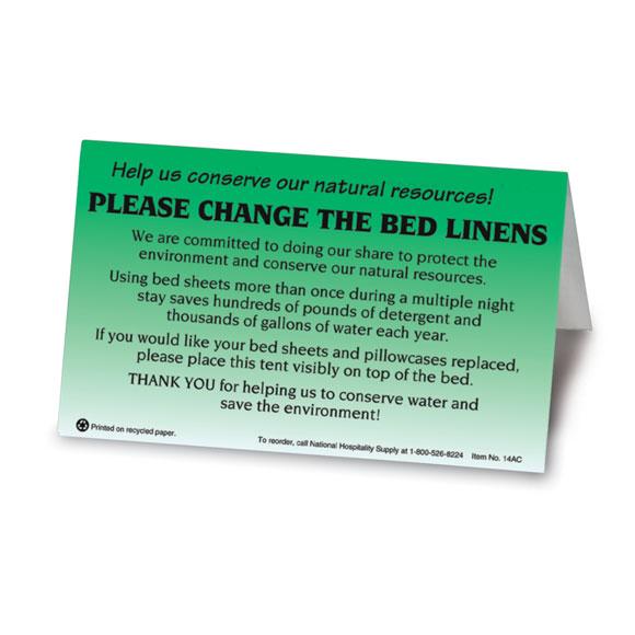 Please Change Linens Bed Tent Sign 100/pk
