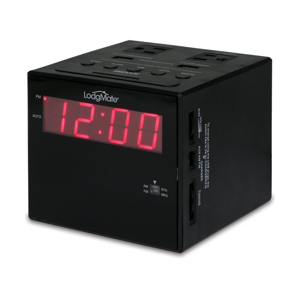 "LodgMate Power Station .9""  LED Clock Radio"