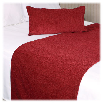 LodgMate Princeton Chenille Polyester Bed Scarf & Bolster Collection