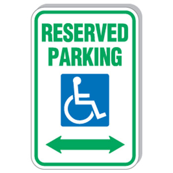 "12""x18"" Reserved Parking w/Handicapped Symbol Sign"
