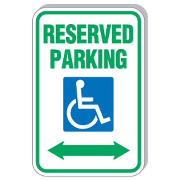 """12""""x18"""" Reserved Parking w/Handicapped Symbol Sign"""