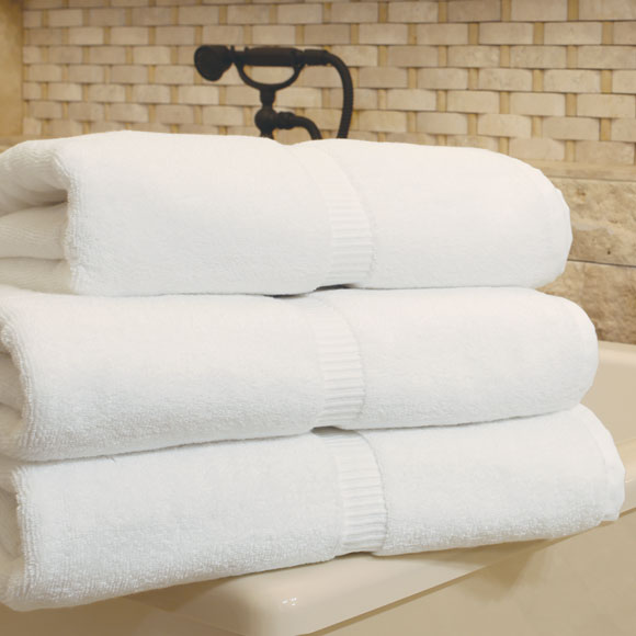 Resort 100% Cotton White Guestroom Towels