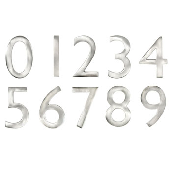"4"" Satin Nickel Metal Door Numbers"