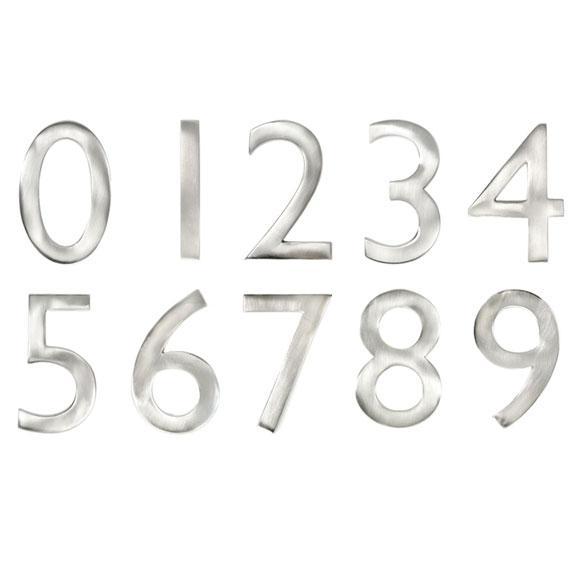 """4"""" Satin Nickel Metal Door Numbers"""
