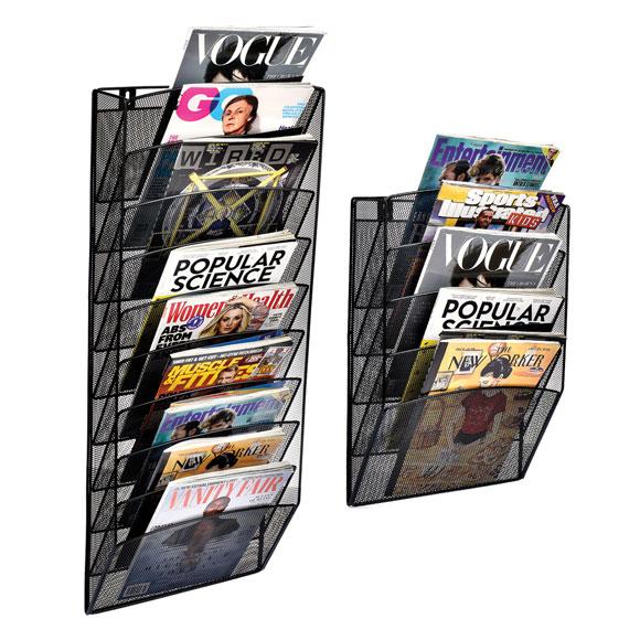 Steel Mesh Wall-Mount Magazine Racks