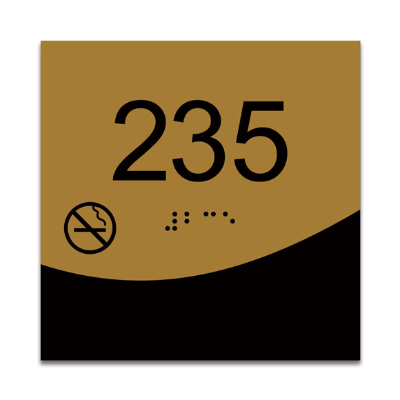 "Villa 4"" x 4"" ADA Braille Room Number Sign w/ Symbol"
