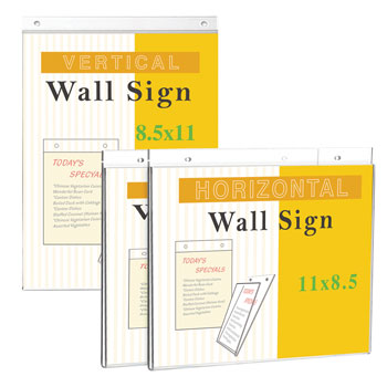 "Wall Mount Sign Holders - 8.5"" x 11"" - Clear"