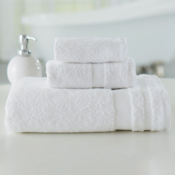 "Welcam Cotton/Poly 16""x 27"" White Hand Towels; 3 lb; 1dz"