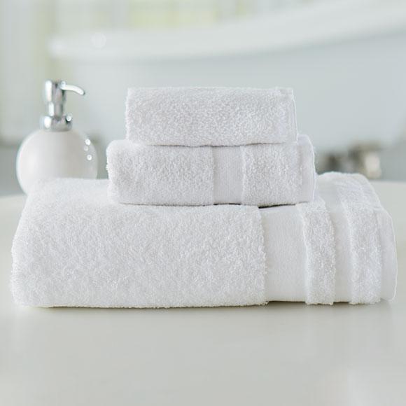 "Welcam Cotton/Poly 16""x 27"" White Hand Towels; 3 lb; 1dz"