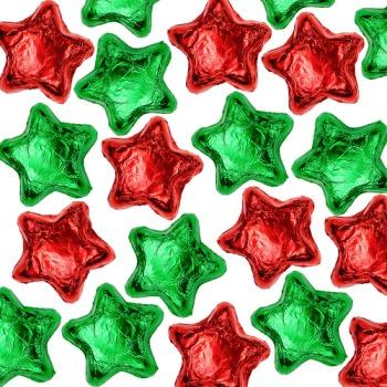 Milk Chocolate Stars - Red & Green
