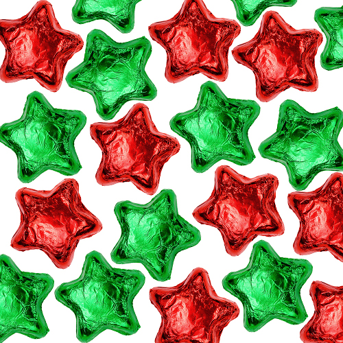 Milk Chocolate Stars - Red & Green