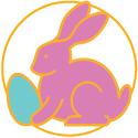 Natural Easter Bunnies and Eggs Logo