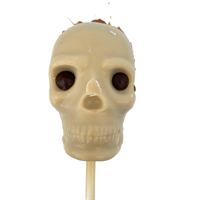 Leaky Brains **DAMAGED** White Chocolate Skull Lollipop with Raspberry Caramel