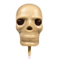 White Chocolate Skull Lollipop with Raspberry Caramel