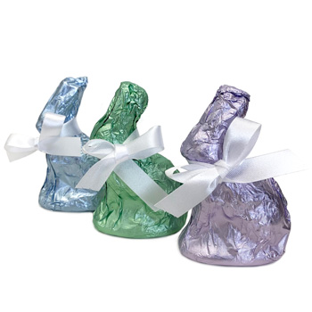 Fair Trade Sitting Bunny (One) - Milk Chocolate in Colored Foil