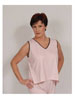 Sleeveless V-Neck Top Soft Pink with Chocolate Trim