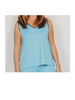 Sleeveless V-Neck Top Turquoise with Chocolate Trim