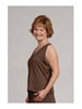 Sleeveless V-Neck Top Chocolate with Soft Pink Trim